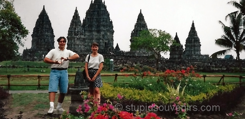 Tourist flashes gang sign at Prambanan temple!