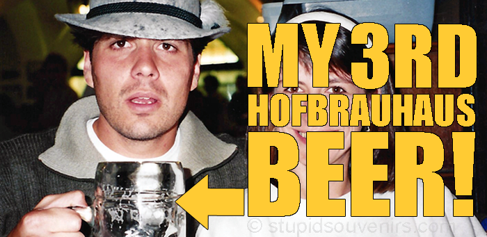 Tourist has too many beers at the Hofbrauhaus in Munich, Germany.